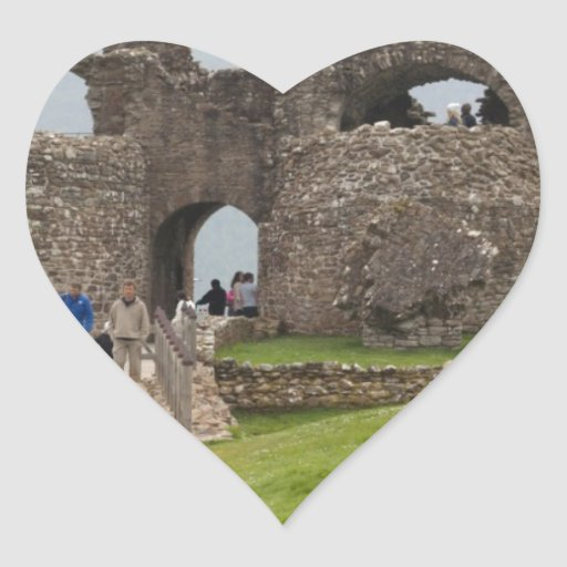 Tourists and the path in the Urquhart Castle Heart Sticker