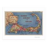 Tourists' Auto Map of Cape Cod Postcards