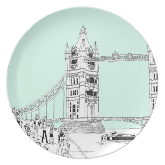 Tourists by Railing Dinner Plates