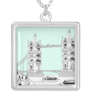 Tourists by Railing Silver Plated Necklace
