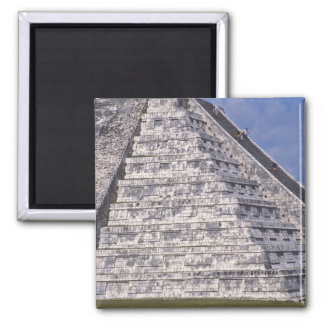 Tourists climbing stairs of El Castillo, stone Magnet
