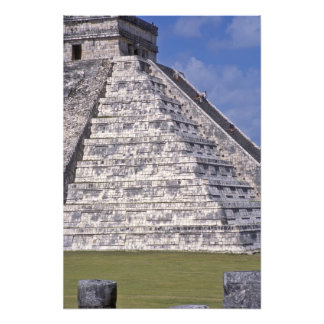 Tourists climbing stairs of El Castillo, stone Photograph