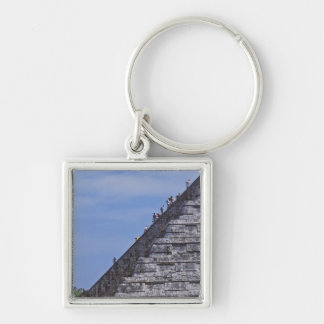 Tourists climbing stairs on ruins of El Silver-Colored Square Key Ring