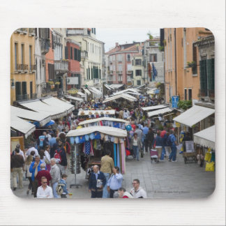 Tourists in a street market, Venice, Italy Mouse Pad