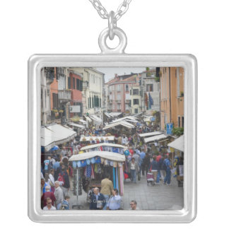 Tourists in a street market, Venice, Italy Silver Plated Necklace