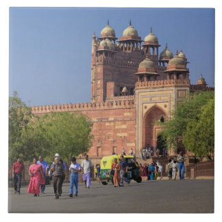 Tourists in front of Fatehpur Sikri, in the Large Square Tile