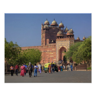 Tourists in front of Fatehpur Sikri, in the Poster