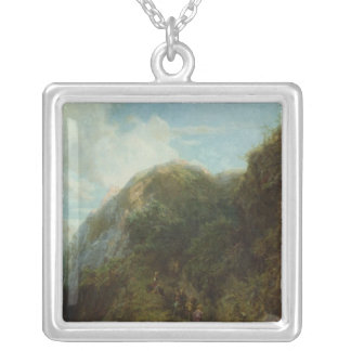 Tourists in the Mountain Silver Plated Necklace