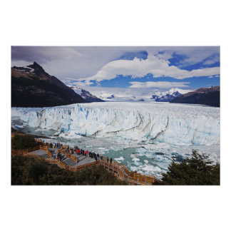 Tourists Looking At Glacier Poster