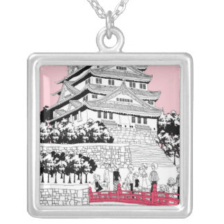 Tourists on Bridge Silver Plated Necklace