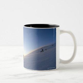 Tourists on Mountain Two-Tone Coffee Mug
