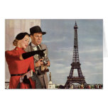 Tourists Travelling Paris Sightseeing Eiffel Tower Greeting Card