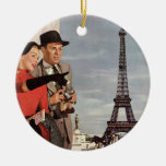 Tourists Travelling Paris Sightseeing Eiffel Tower Christmas Ornament