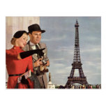 Tourists Travelling Paris Sightseeing Eiffel Tower Postcard
