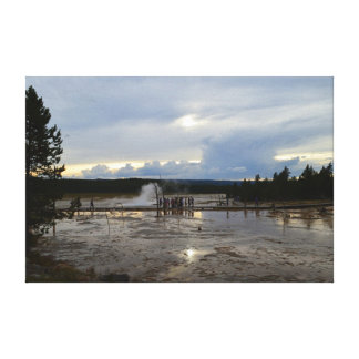 Tourists Visit Lower Geyser Basin of Yellowstone Gallery Wrap Canvas