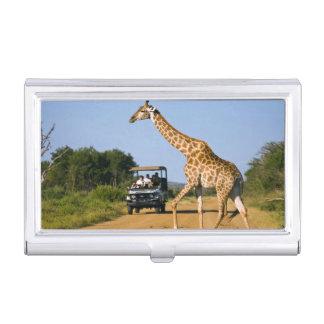Tourists Watching Giraffe Business Card Holder