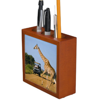 Tourists Watching Giraffe Desk Organiser