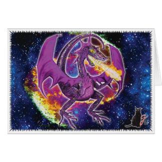 Tourmaline Cosmic Dragon Greeting Card