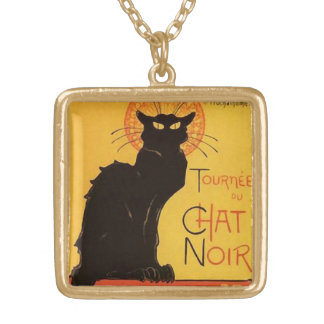 Tournée du Chat Noir, Steinlen Black Cat Vintage Gold Plated Necklace