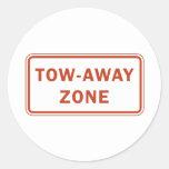 Tow-Away Zone Round Sticker