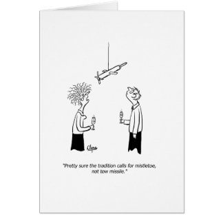 Tow missile or mistletoe New Year's greeting card