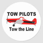 Tow Pilots Tow the line Round Sticker