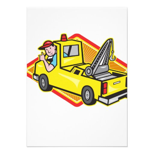 Tow Wrecker Truck Driver Thumbs Up Personalized Announcements