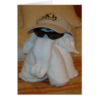 Towel Elephant with Sunglasses Greeting Card