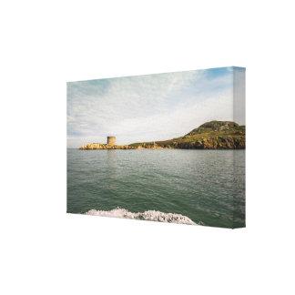 Tower and green Irish cliffs Canvas Print