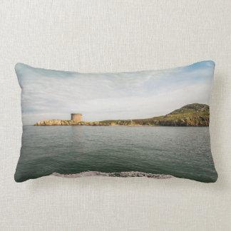 Tower and green Irish cliffs Lumbar Cushion