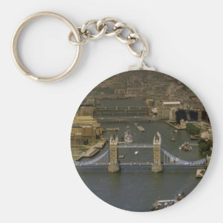 Tower Bridge, aerial view, London, England Basic Round Button Key Ring