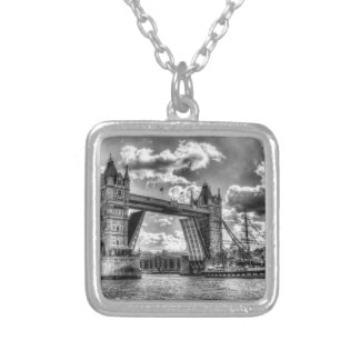 Tower Bridge and passing ship Silver Plated Necklace