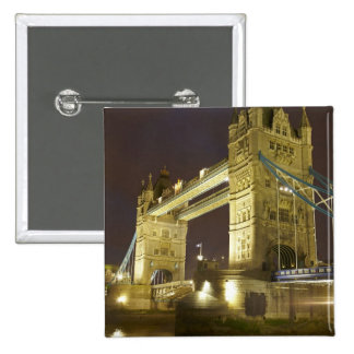 Tower Bridge and River Thames at dusk, London, 15 Cm Square Badge