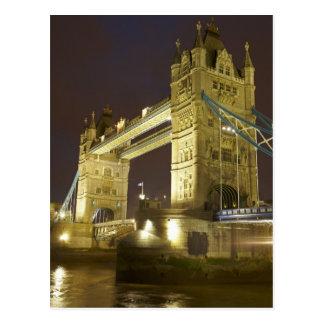 Tower Bridge and River Thames at dusk, London, Postcard