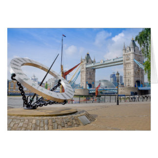 Tower Bridge and Sun Dial, London UK Greeting Card