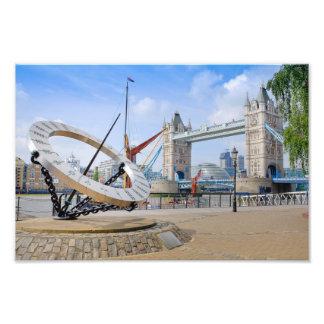 Tower Bridge and Sun Dial, London UK Photo Print