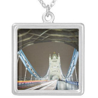 Tower Bridge and Thames River at Dusk Silver Plated Necklace