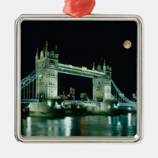 Tower Bridge at Night, London, England Silver-Colored Square Decoration
