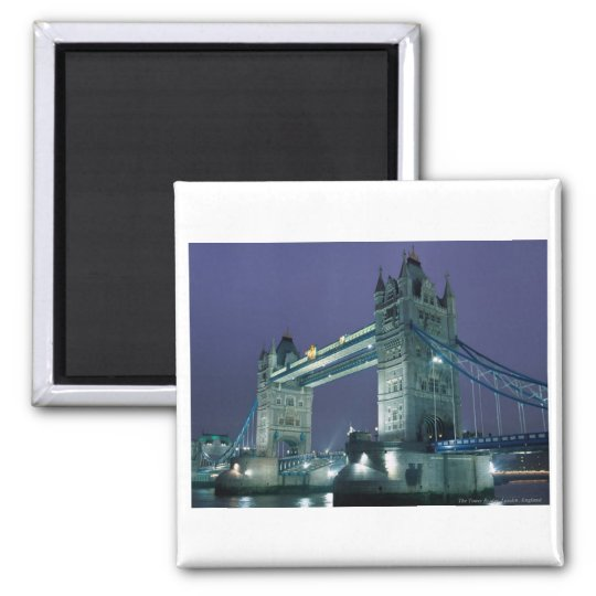 Tower Bridge at night, London, England Square Magnet
