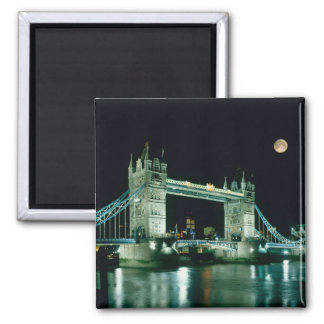 Tower Bridge at Night, London, England Square Magnet