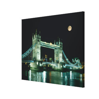 Tower Bridge at Night, London, England Stretched Canvas Print