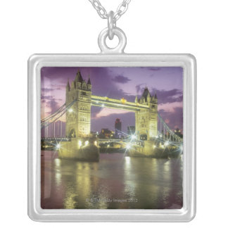 Tower Bridge at Night Silver Plated Necklace