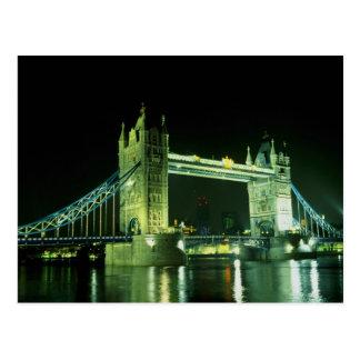 Tower Bridge illuminated in the evening London E Postcard
