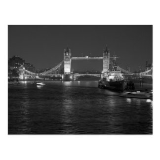 Tower Bridge London, Black and White Postcard