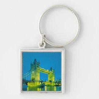 Tower Bridge, London, England 3 Silver-Colored Square Key Ring