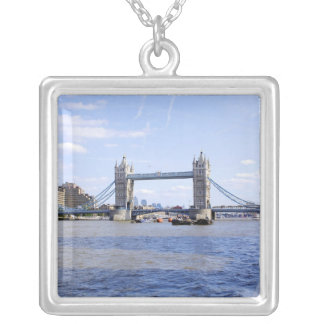 Tower Bridge London Square Silver Necklace