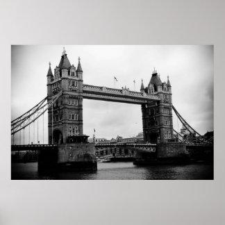 Tower Bridge, London, UK black and white print