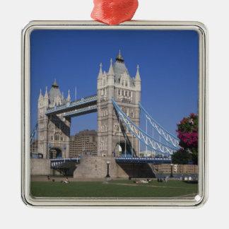 Tower Bridge, River Thames, London, England Silver-Colored Square Decoration