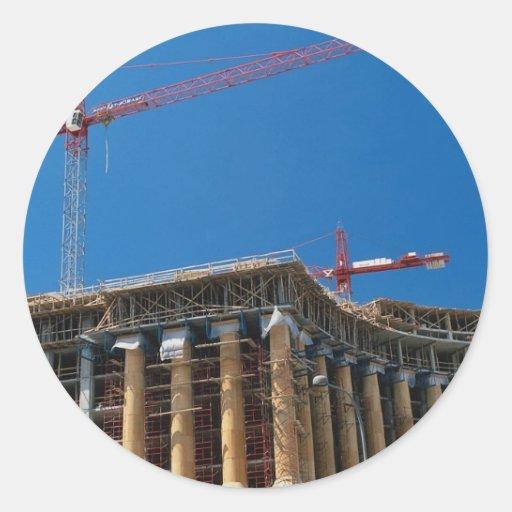 Tower crane, Washington, D.C., U.S.A. Round Stickers