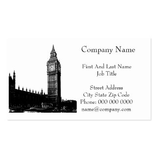 Tower of London Big Ben Black and White Photograph Double-Sided Standard Business Cards (Pack Of 100)